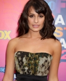 Lea Michele's Curly Hairstyle With Side Swept Bangs