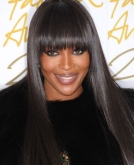 Naomi Campbell's Long Super- Sleek Hairstyle with Bangs