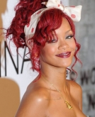 Rihanna's Red Updo Hairstyle