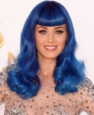 Katy Perry's Beautiful Long Blue Hairstyle with Bangs