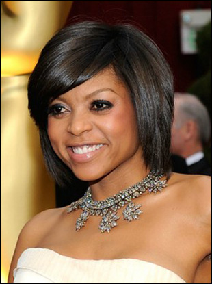 bob hairstyles for 2009. Taraji Henson#39;s Brunette Bob