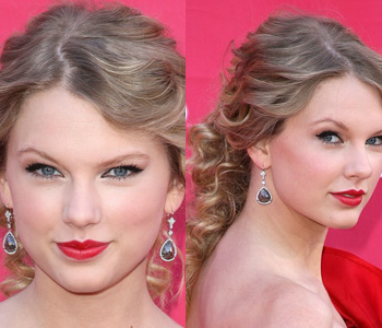 taylor swift elegant curly half up half down hairstyle at