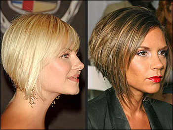 front and back view of short bob hairstyles