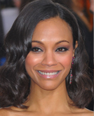 Zoe Saldana's Shoulder Length Hairstyle with Waves at 2010 Golden Globe Awards