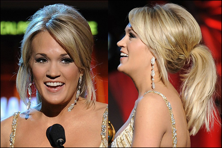 How to get Carrie's dressy updo ponytail: Mist a volumizing spray onto