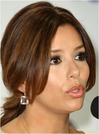Eva Longoria Parkers Casual Low Ponytail Hairstyle