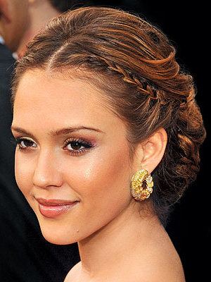 Jessica Alba's wedding hairstyle, french braids