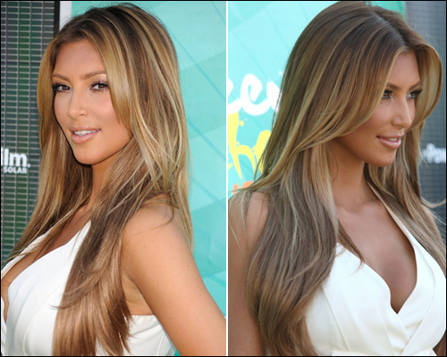 light brown hair color kim kardashian